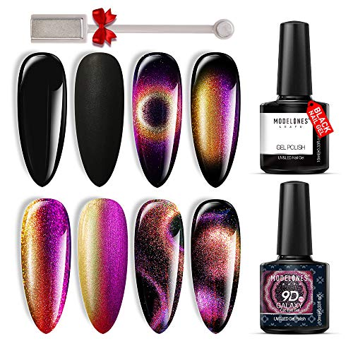 9D Cat Eye Gel Polish Set Chameleon Magnetic Gel Polish Galaxy Glitter Gel Polish Matte Top Coat Base Top Coat Shine Set10ml with Magnet Stick UV/LED Gel Nail Polish Set 2pcs