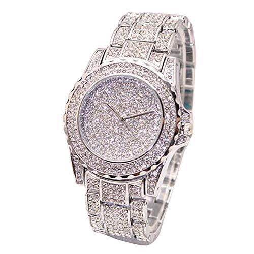 Abstand Armbanduhr FGHYH Männer Frauen Mode Luxus Uhren Diamanten Quarz Vogue Uhr Watch Armbanduhr(Silber)
