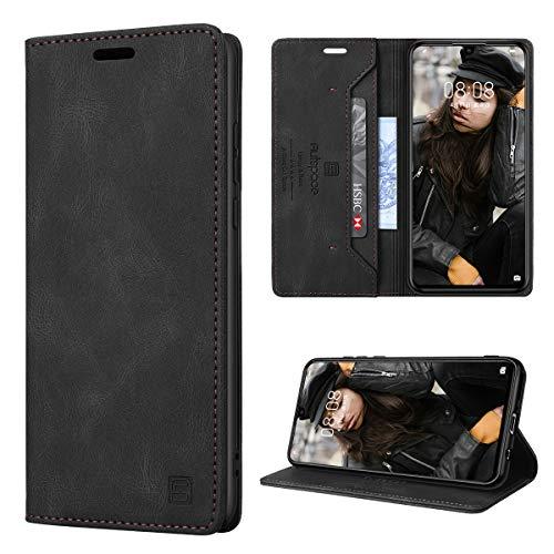 GANKER Handyhülle für Huawei P30 Lite Hülle Premium Leder [RFID Schutz] Flip Hülle Magnetisch Klapphülle Lederhülle TPU Bumper Schutzhülle für Huawei P30 Lite/P30 Lite New Edition Hülle - Schwarz
