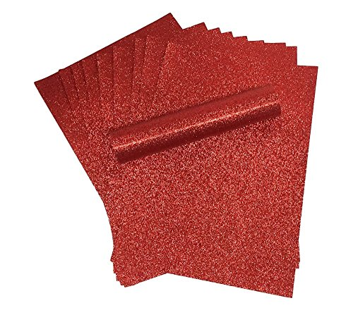 Carta glitterata in formato A4, morbida al tatto, 150g/mq di spessore, carta regalo per Natale, color rosso, confezione da 10fogli