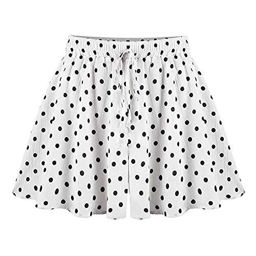Gooket Women's Casual Culottes, High Elastic Waist Flowy Wide Leg Skirt Shorts Polka Dots White 4XL - US16
