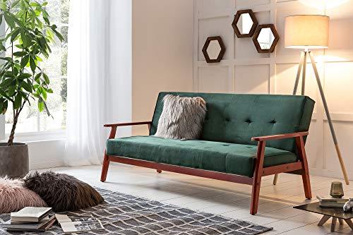 Schlafsofa in Grün | Sofa-Bett | Klappsofa mit Samtbezug | Gestell Eichenholz | Sitz-, Chill- und Liegefunktion | skandinavisches Design