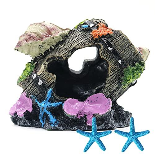 Magicwolf Shell Broken Barrel Resin Betta Fish Tank Accessories Ornaments for Fish Cave Hide Tank Decorations, Shell Broken Barrel x 1pc, Blue Star Fish Ornaments x 2pcs