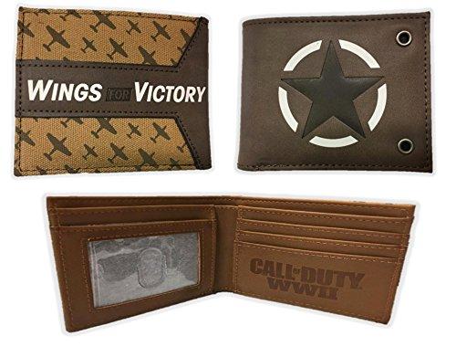 Call of Duty WWII Wings of Victory Bi-Fold Wallet Brown Mens Licensed