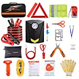 Car Roadside Emergency Kit with Jumper Cables, Auto Vehicle Safety Road Side Assistance Kits, Winter Car Kit for Women and Men, with Portable Air Compressor, Tow Rope, etc