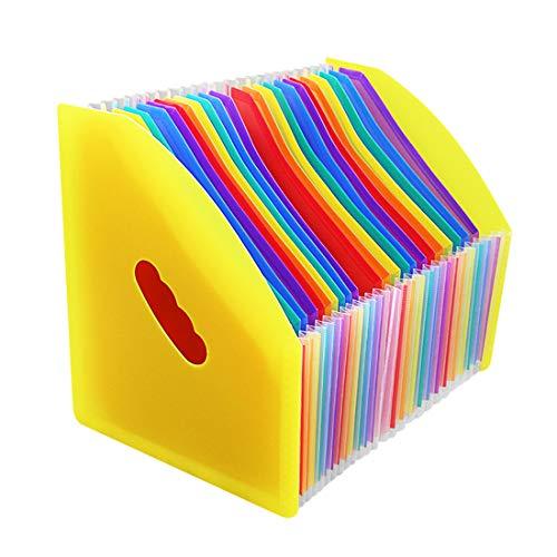 Marte Vanci - Organizador de documentos para escritorio, diseño de acordeón (tamaño A4, archivador de documentos), color Arco iris amarillo # 24 piezas