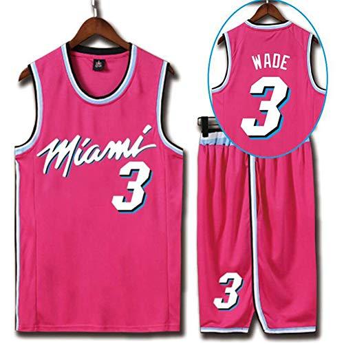 QAZWSX Miami Heat 3. Camiseta de baloncesto Dwyane Wade para deportes de verano y baloncesto para adultos, camiseta de baloncesto (pantalones cortos) rosa XXS