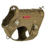OneTigris Dog Harness,Tactical Dog Harness with Handle,No-Pull Service Dog Vest with Hook & Loop Panels,Adjustable Dog Vest Harness for Walking Hiking Training(Coyote Brown,X-Large)