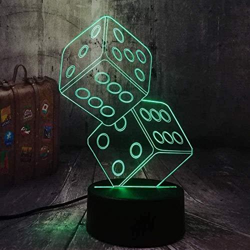 Lampada da notte Divertimento Dadi Poker Carte da gioco Gioco Tavolo da gioco Scrivania Lampada da notte Decor Toy Natale Regalo di compleanno Negozio Usb Led Regali Bambini