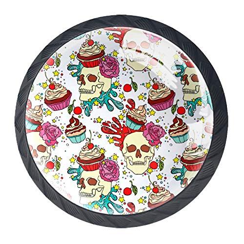 Schubladengriffe Ziehen Sie rundes Kristallglas für Home Kitchen Dresser Wardrobe Skull Cake
