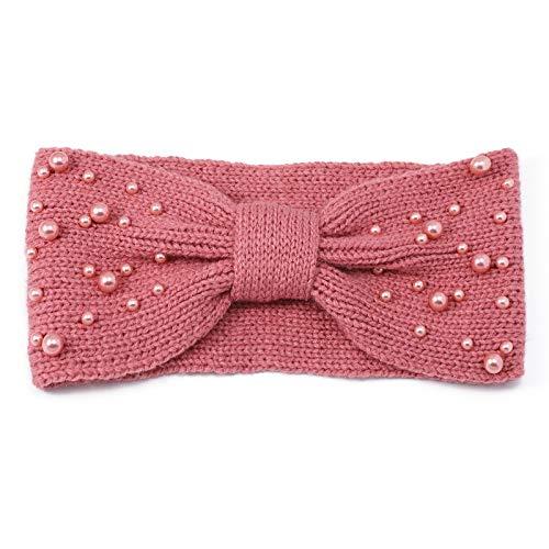 Zeltauto Damen's Schleife Häkeln Stirnbänder Künstliches Perle Dekoration (Dunkel Rosa)
