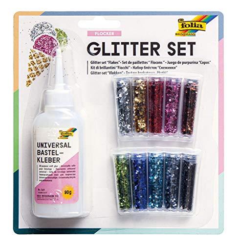 folia 589 - Glitterset Flocken, bestehend aus Bastelkleber und 10 Dosen Glitter-Streuteile, farbig sortiert - ideal zum Verzieren Ihrer Bastelarbeiten, Grußkarten, Scrapbooking, und vielem mehr
