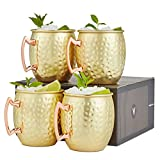 VonShef Moscow Mule Mugs Set of 4 Gold Hammered Effect Barrel Style...
