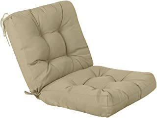 QILLOWAY Outdoor Seat/Back Chair Cushion Tufted Pillow, Spring/Summer Seasonal Replacement Cushions. (Beige)