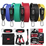 Resistance Bands Widerstandsband Set mit Trainings-eBook - Expander Tubes Bänder Band...