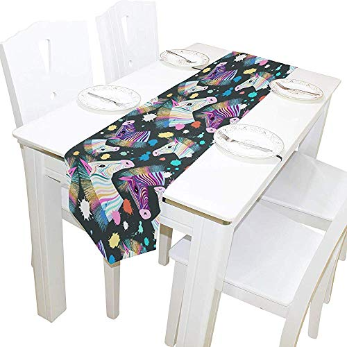 Sunnee-shop tafelloper, kleurrijk, schattig tafelkleed van zebrapatroon