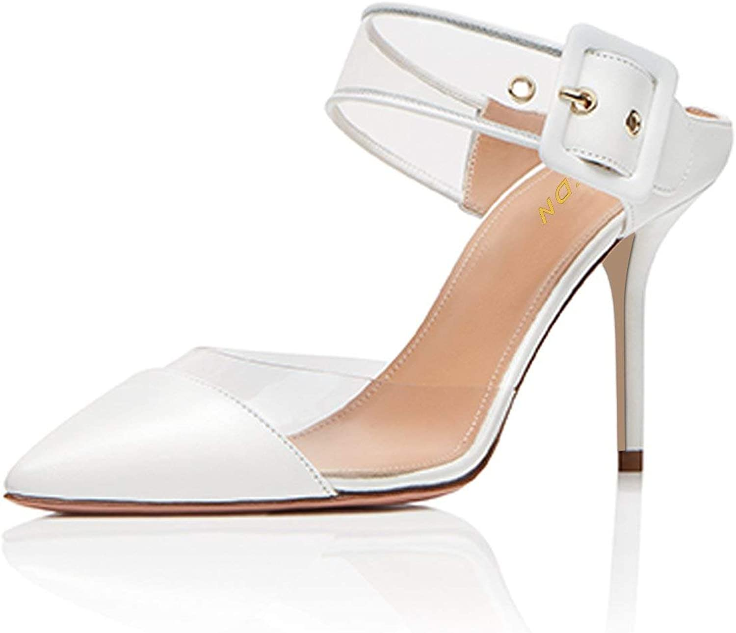 YDN Women Pointed Toe High Heel Slide Sandals Slip on Clogs Mules Transparent Stiletto shoes