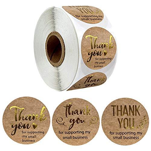 Cozyhoma 1 ronde bruine kraftpapier stickers, bedankt voor het ondersteunen van mijn kleine zakelijke kraftstickers met gouden folie, permanente zelfklevende stickers etiketten voor bedrijven, kraftmakers, online verkopers, boetieks, kleine winkels