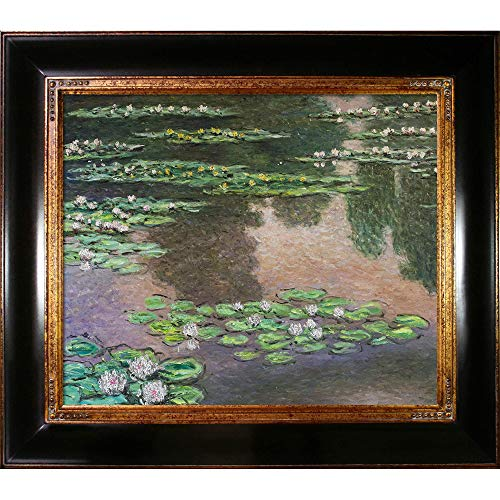 La Pastiche Water Lilies, Green and Violet (Luxury Line) Framed Oil Painting, 33' x 29', Multi