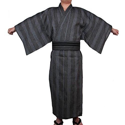 Fancy Pumpkin Kimono japonés Yukata de los hombres de Jinbei Kimono casero de la bata del pijama del traje # 08 [talla L]