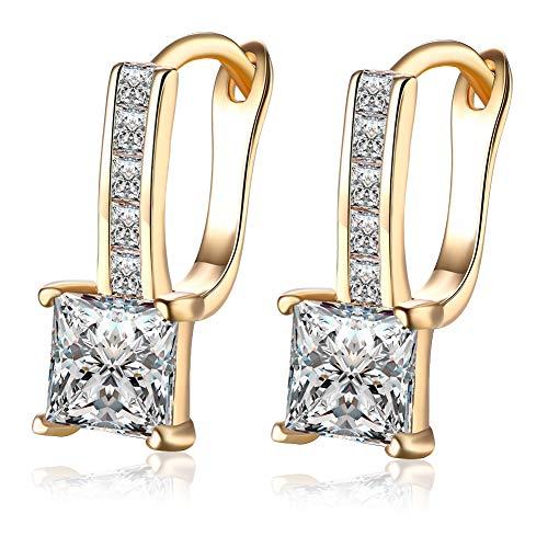 Pendientes de oro chapados en oro para Mujer, De clip de aro con bisutería de circonita de corte princesa de moda, regalos de nacimiento para Mujer