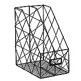 Mesh Double Magazine Rack, Eisen Raster Desktop Book Stehsammler Rack Halter, perfekt für Papier Magazin Dokumente und Bücher Management, schwarz