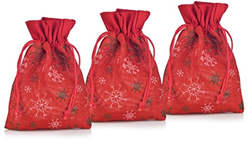 Small Red Snowflakes Faux Burlap Gift Bags for Wedding Party Favor, Wedding Gift Bags, Goodies, Chocolate, and Candy ( 3 Pack) Size 6