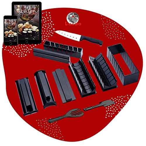 luspo Le Sushi Maker Moules à Sushi Maki Complet + 50 Recettes Offertes| avec Couteau Expert A Sushi| 12 Pièces| Vous Allez Enfin réussir Vos sushis et Votre Riz du Premier Coup ! Cadeau Japon DIY