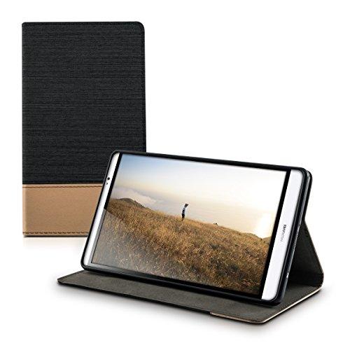 kwmobile Hülle kompatibel mit Huawei MediaPad M2 8.0 - Slim Tablet Cover Hülle Schutzhülle mit Ständer Schwarz Braun
