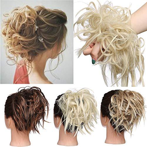 TESS Haarteil Dutt Haargummi mit Haaren Glatt struppige Haarknoten Hochsteckfrisuren günstig Haarverlängerung für Frauen 45g Blond