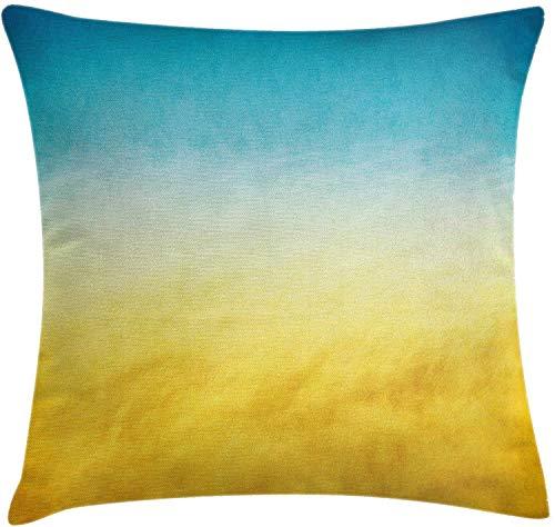Funda de cojín de almohada amarilla y azul, Surf Waves Ocean Beach Paisaje exótico de ensueño degradado en tonos borrosos, funda de almohada decorativa cuadrada decorativa, 45 x 45 cm, azul amarillo