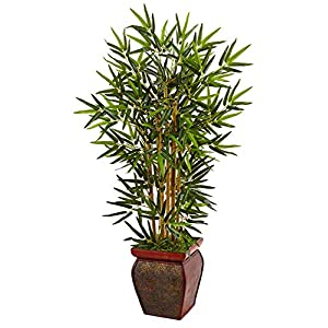 Nearly Natural 3.5ft. Bamboo Artificial Wooden Decorative Planter Silk Trees Green