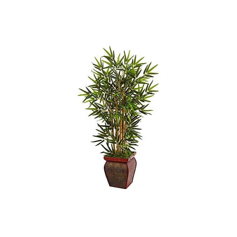 silk flower arrangements nearly natural 3.5ft. bamboo artificial wooden decorative planter silk trees green