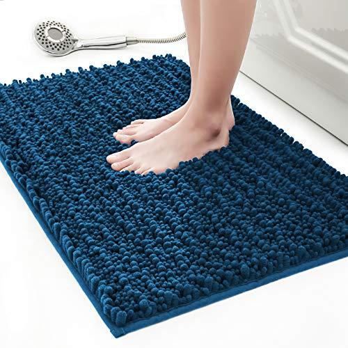 Frabe Chenille Badematte, rutschfeste Badteppiche, Weich und saugfähig Badezimmerteppich, Badvorleger für Badezimmer, Badewanne, Dusche(50x80cm, Blau)