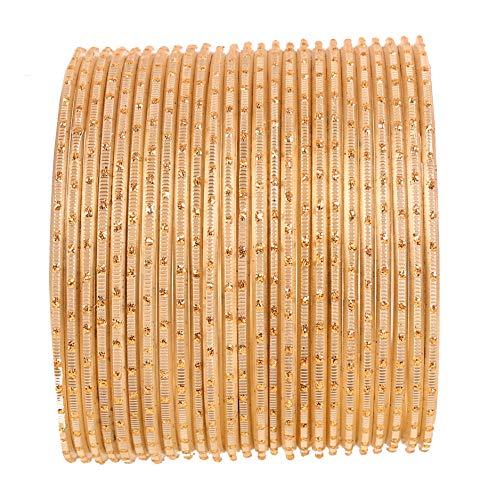 Touchstone 2 docenas de brazaletes de la colección de aleación de Metal con luz de diseño de joyería de diseño Pulseras Especiales para Mujer 2.75 Conjunto de 2 Grande Luz Dorada