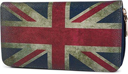 styleBREAKER Union Jack Designer Geldbörse im Großbritannien Vintage Design mit Reißverschluss, Portemonnaie, Damen 02040021, Modell-5 / Dunkelblau