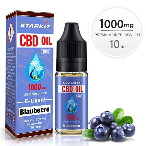 STARKIT® CBD E Liquid 1000mg, Vape Öl 10ml mit 10{8b409b3db8e17292e1ae8b13833822aa5280005b0c4b42dbe4add74b34037446} Cannabidiol Hanf Öl für E Zigarette Starter Set SMOK E Shisha, PG70/VG30 Eliquid, ohne Nikotin, ohne THC (Blaubeere Geschmack,1000mg)
