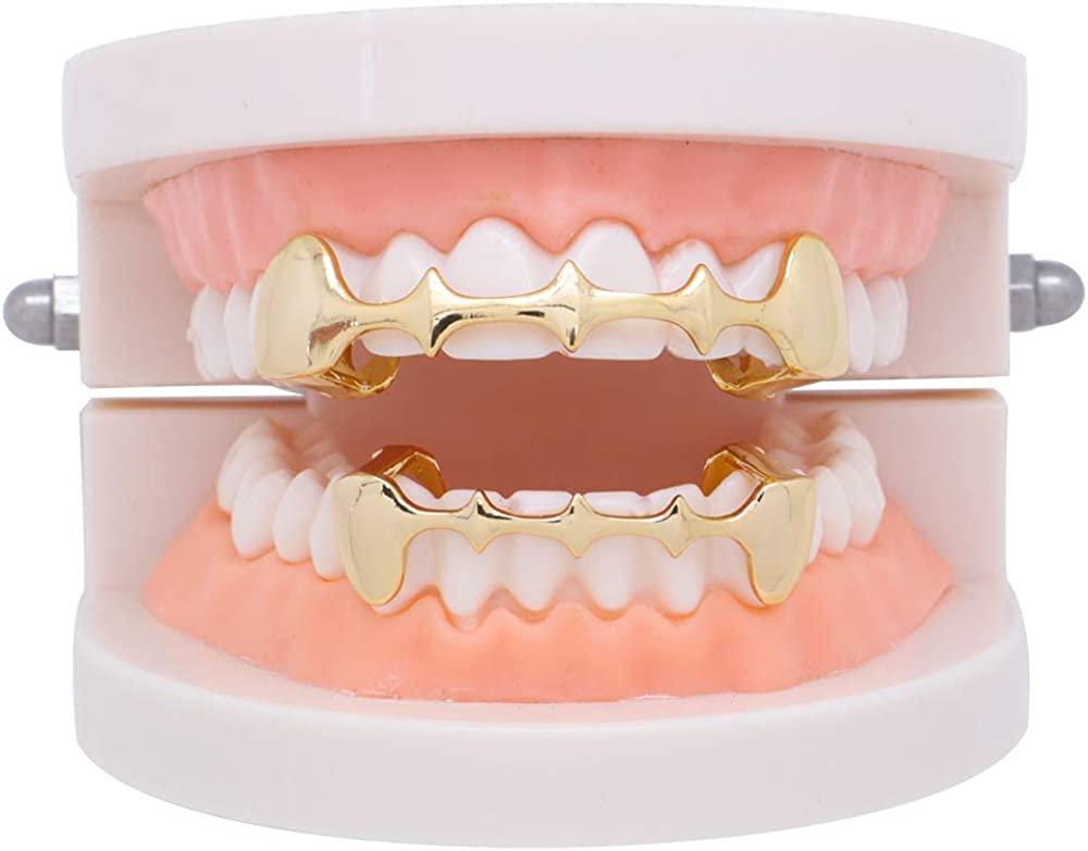 OOCC 18K Gold Plated Slug Vampire Fang Top and Bottom Grills Caps for Your Teeth Grillz for Men and Women Cosplay Accessory