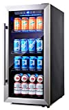 Phiestina PH-CBR100 106 Can Compressor Beverage Cooler Stainless Steel & Glass Door with Handle