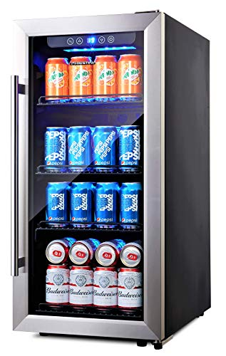 Phiestina PH-CBR100SP 96 Can Compressor Beverage Cooler Air-Cooled Refrigerator Stainless Steel & Glass Door with Handle