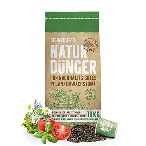 Naturdünger - Universal Pflanzendünger in Bio-Qualität - Langzeitdünger für nachhaltig gutes Pflanzenwachstum - mit Dosierhilfe - einfach & unbedenklich düngen - Dünger von SCHNITGER's - 10kg