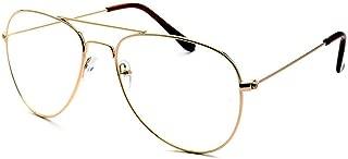KIDS Children Aviator Gold Metal Oversized Clear Lens Eye Glasses (Age 3-10)