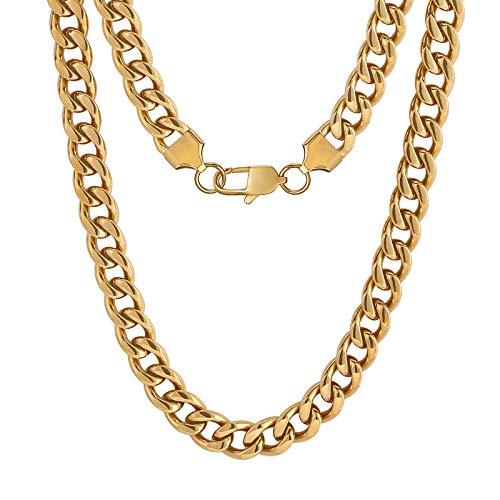 KRKC&CO 9mm Edelstahl Panzerkette 18K Gold beschichtet Cuban Link Chains Kubanische Gliederkette Goldene Halskette Edelstahl Halskette für Herren Hip Hop Halskette für Männer Jungen Größe 55.9cm