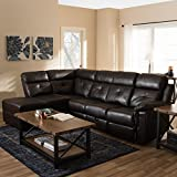 Baxton Studio Roland Modern and Contemporary Sectional with Recliner and Storage Chaise