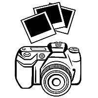 カーステッカー 11.4cm * 16.2cmファッション写真カメラビニールブラック/シルバーカーステッカー カーステッカー (Color Name : Black)