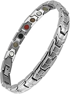N+NITROLUBE Titanium Magnetic Therapy Germanium Bracelet for Women,5 Element Energy Jewelry for Promote Blood Circulation and Relieve Pain (7.48)