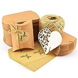 100x Kraftpapier Tüten Hochzeit Geburtstag Party süßigkeiten Karton 7x9cm mit Jute-Schnur 60M...