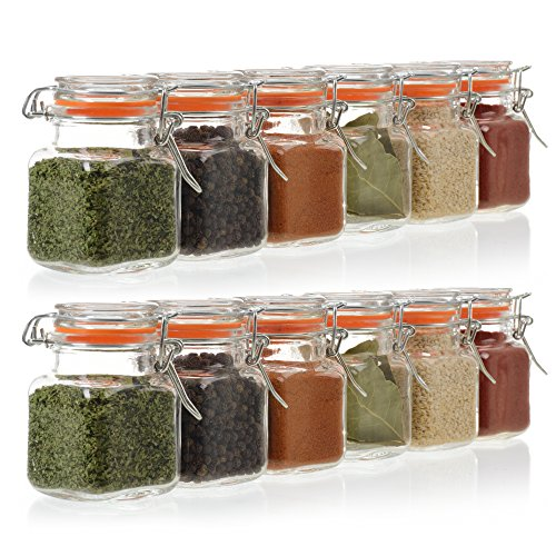 24-Count 3.4 oz Spice Jars with Lids Value Pack. Airtight Glass Bottles for Spices, Condiments, Seasonings and More. Clear Glass Jars with Airtight Lids for Home, Party Favors, and Gifts.