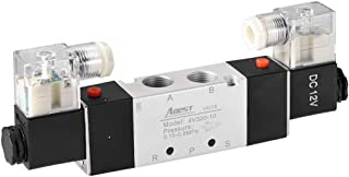 uxcell DC 12V 5 Way 2 Position 3/8 inchesPT,Pneumatic Air Solenoid Valve,Double Electrical Control,Internally Piloted Acting Type,Red Light,4V320-10