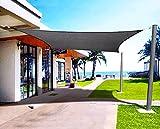 Emooqi Toldo Vela De Sombra, Vela De Sombra Rectangular HDPE 3x4M, Toldo Rectangular/Toldo Vela Parasol Protección Rayos UV y Transpirable Toldo Resistente para Patio, Exteriores, Jardín -Gris Oscuro